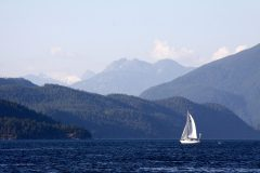 Sailboat in Desolation Sound, British COlumbia, Canada